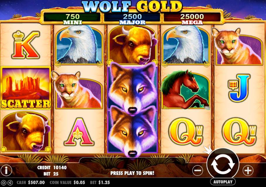 Screenshot of the Wolf Gold slot by Pragmatic Play